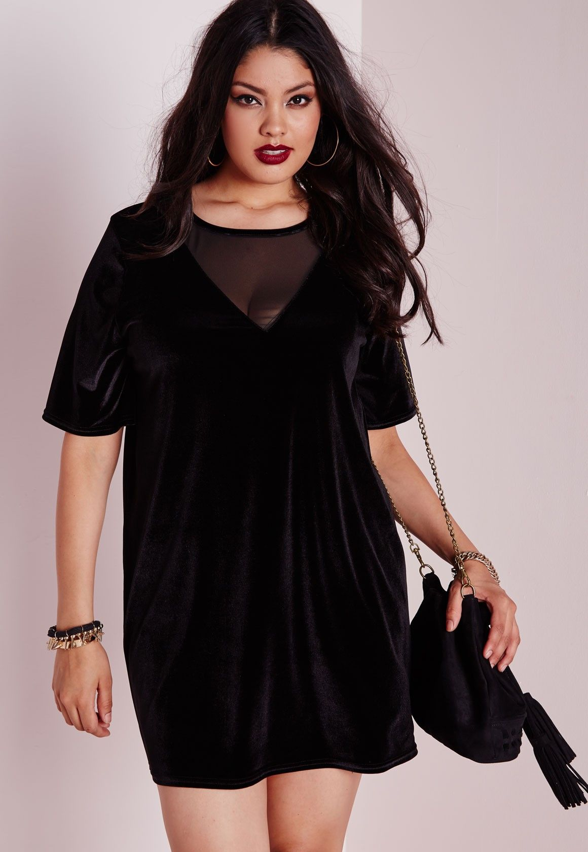 Missguided - Plus Size Velvet Mesh T-Shirt Dress | Velvet in ...
