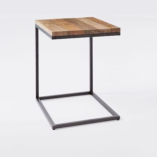 Box Frame C Base Side Table Raw Mango Antique Bronze Rustic Side Table Side Table Furniture Decor