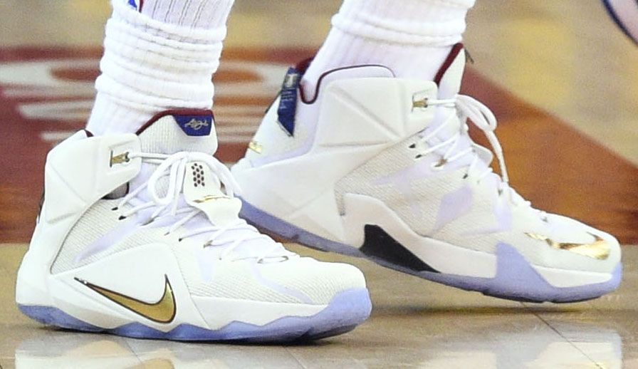 760ed357ed23 LeBron James wearing White Gold-Wine Nike LeBron XII 12 PE in Game 1 of the  NBA Finals (10)