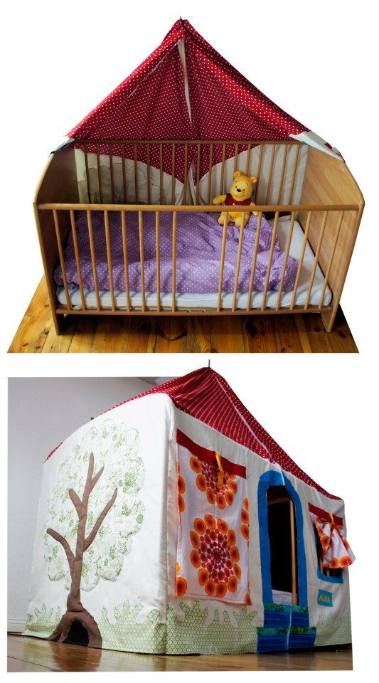 Just make a tent with fabric and hang from ceiling over the crib. You could use the crib as is or turn it upside down.  sc 1 st  Pinterest & 405848_466243370131016_675378140_n.jpg 533×960 pixels | Creations ...