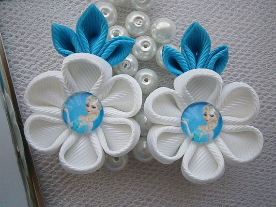 Items similar to Handmade Kanzashi girls toddler baby hair clips bows- buy in UK,shipping worldwide-Frozen Elsa hair accessories on Etsy