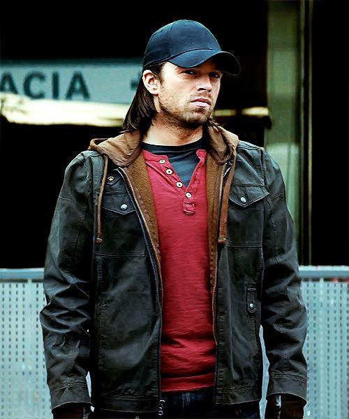 Bucky S Civilian Outfit Leather Jacket Men Black Cotton