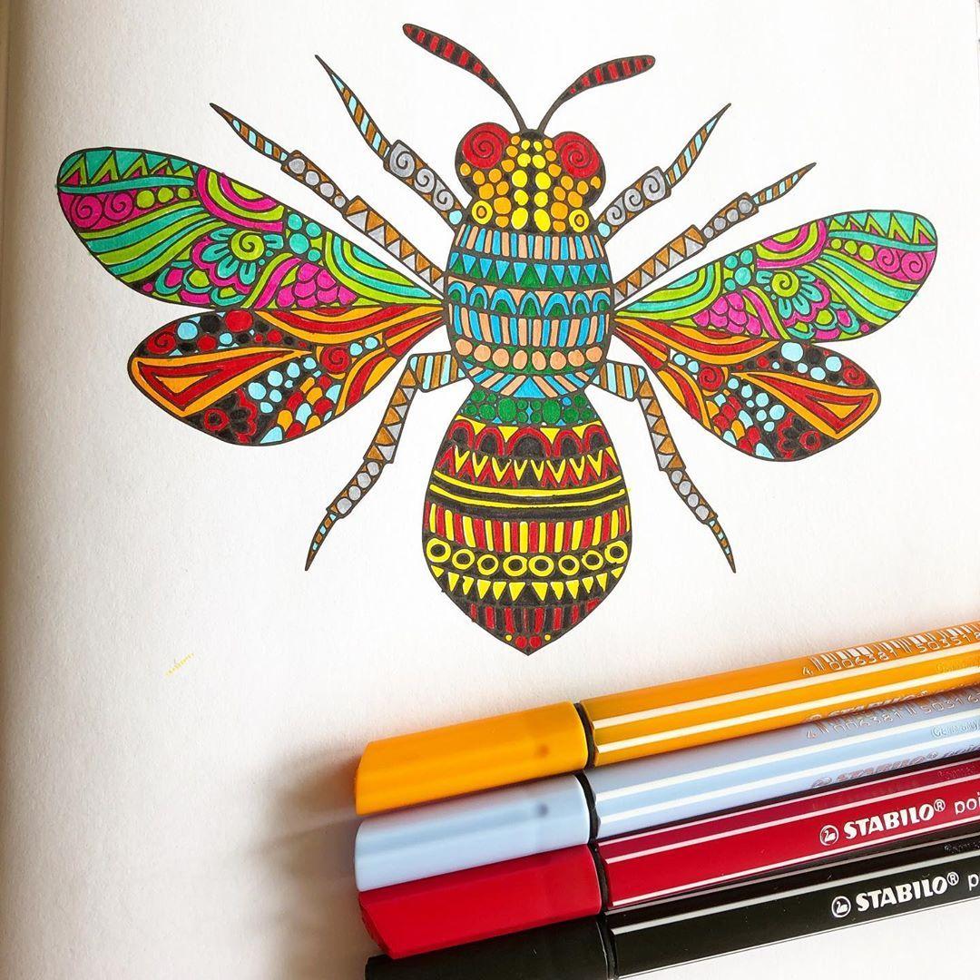 Insekt Mit Mandalamustern Mit Dem Stabilo Pointmax Geometrische Zeichnung Mandala Kunst Stabilo
