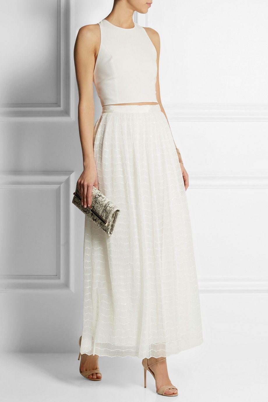 2fe081b06a2 Alice + Olivia - Maci embroidered plissé-tulle maxi skirt ...