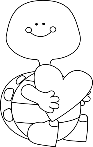 Black and White Valentines Day Turtle Clipart Pinterest