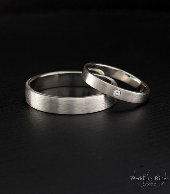 Simple Wedding Band Set His And Hers Wedding Rings Matte Etsy Wedding Rings Sets His And Hers Silver Wedding Rings Couple Wedding Rings