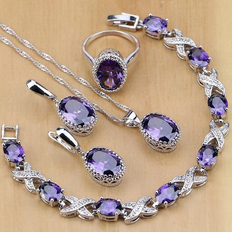 Purple Cubic Zirconia 925 Sterling Silver Earrings Pendant Necklace Rings Bracelet Jewelry Set Silver Jewellery Sets Crystal Jewelry Sets Bridal Jewelry Sets