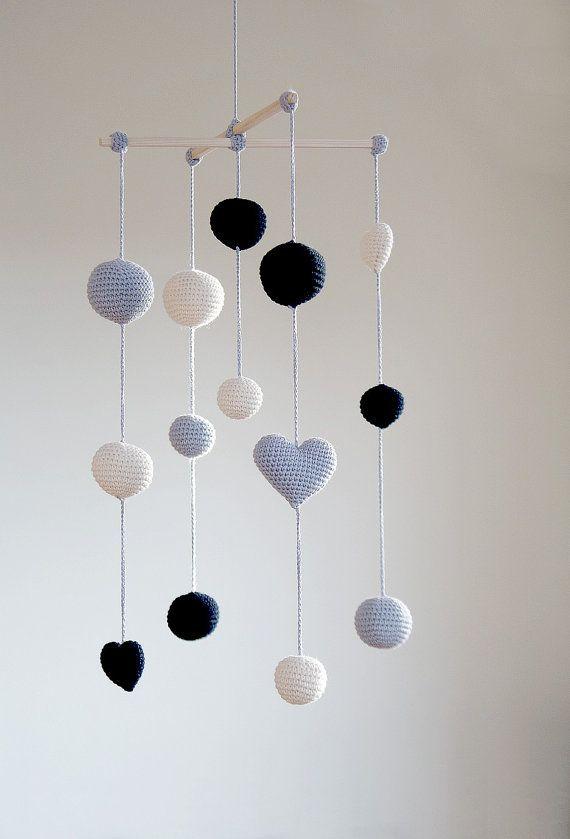Crochet Ballshearts Baby Mobile Greyblackivory Balls Mobile3