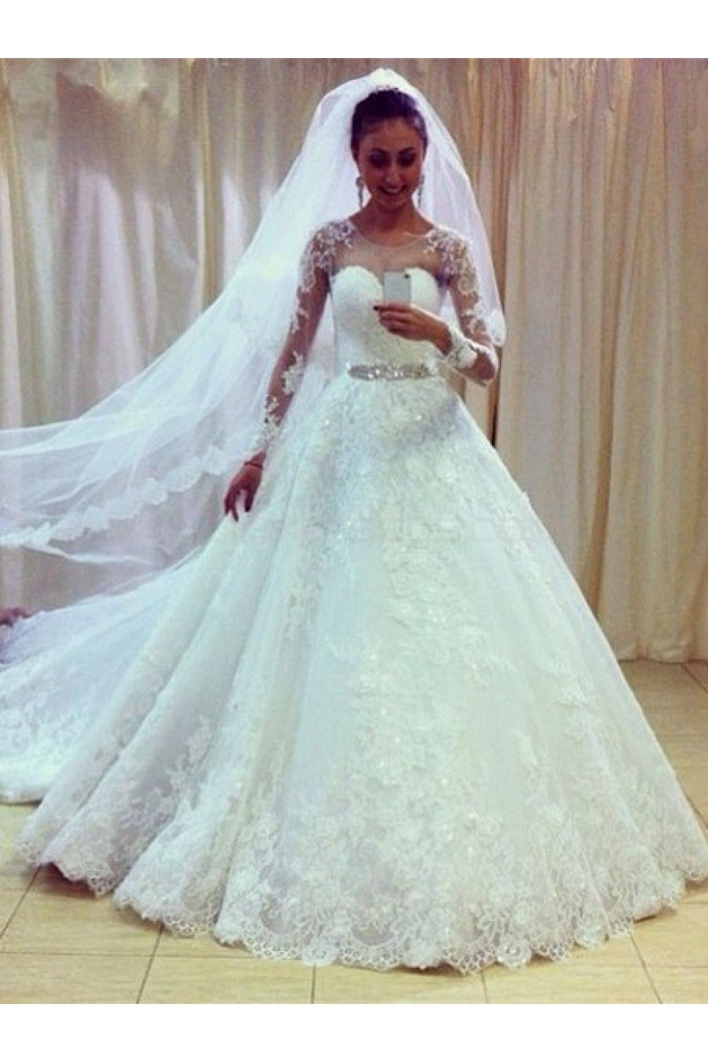 Aline lace long sleeves wedding dresses bridal gowns