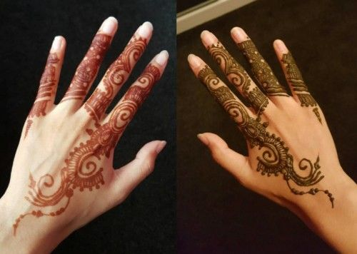 Swirls and spirals finger mehndi starting from wrist ...