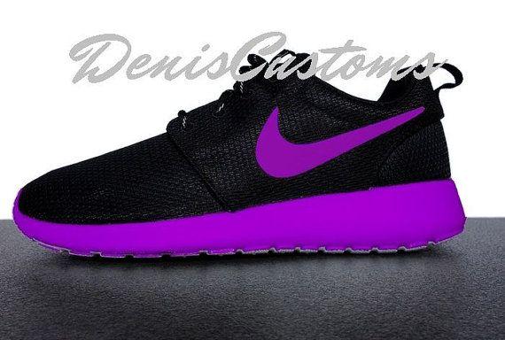 best service 90273 ea736 Nike Roshe Run Black Custom Purple Sole and Swoosh Paint