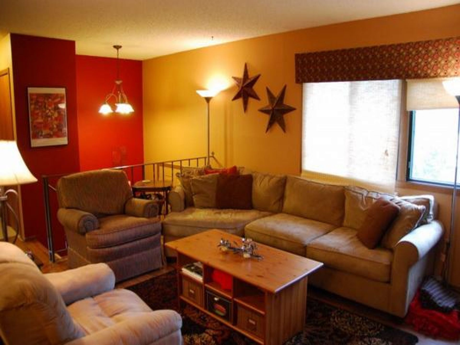 Ideas Elegant Tan Living Couch Feat Red And Yellow Wall Colors For Room