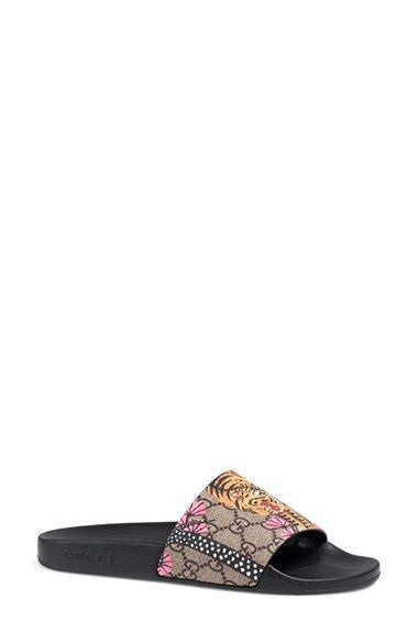 19cc563c1cd Free shipping and returns on Gucci  Pursuit  Slide Sandal (Women) at  Nordstrom.com. A floral-and-logo-print strap defines a well-cushioned sandal  featuring ...
