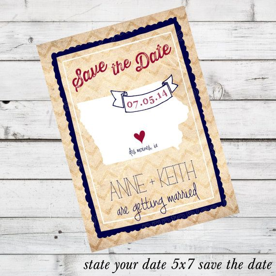 Custom DIY Printable File - Save the Date - State Your Date currently shown in Iowa option