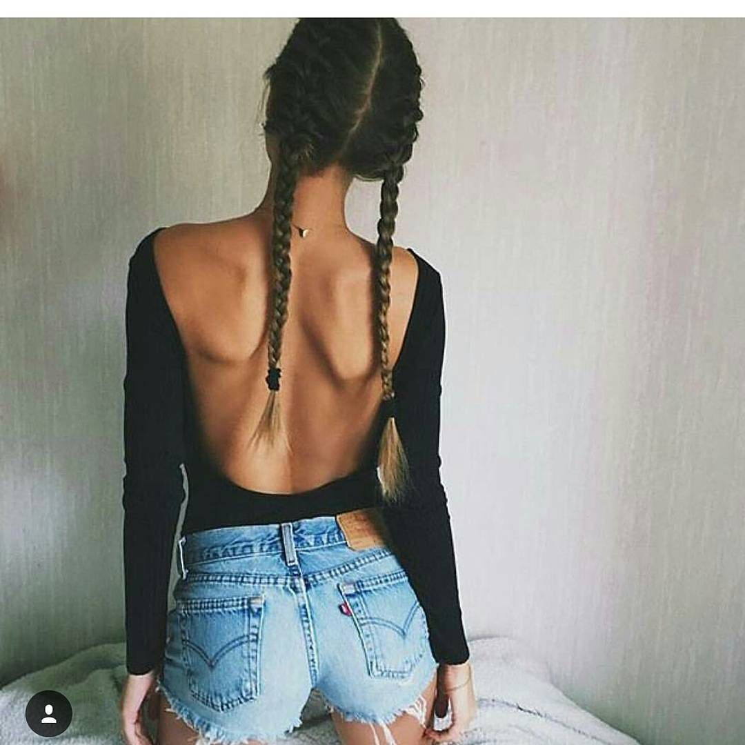 4b56e71f6da0 Love the short denim look with this backless top !  shoutoutforshoutout   glamourgirllv by glamourgirllv