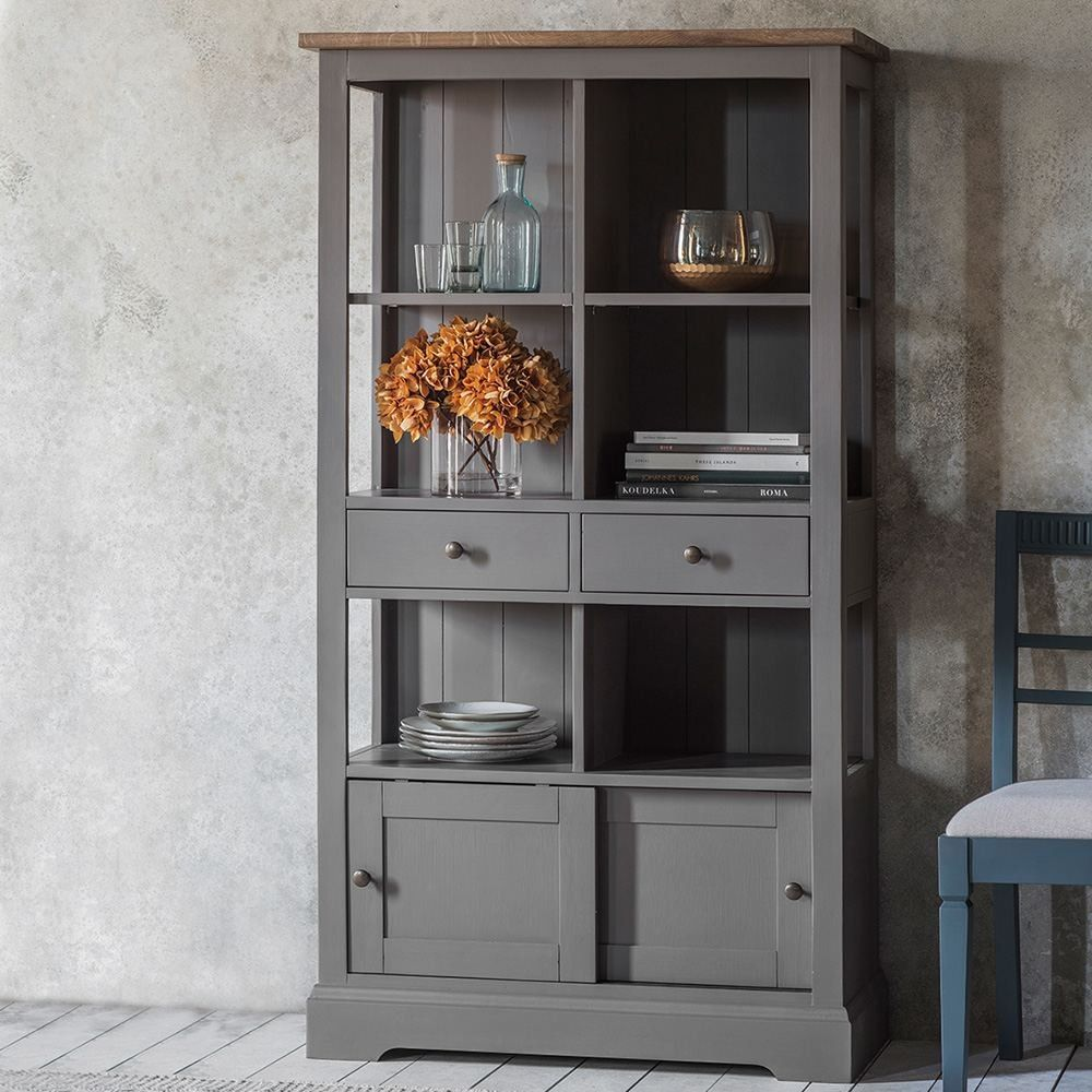 Houseology collection dorset bookcase grey solid oak