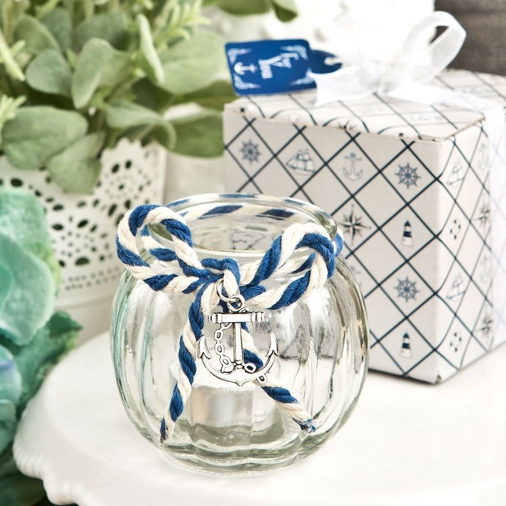 25 Beach Anchor Nautical Themed Glass Round Globe Candle Holder ...
