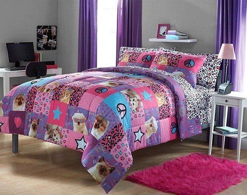 Adorable 2pc Girl Pink Purple Peace Princess Leopard Puppy Kitten Twin  Comforter Set   Price   53.28   FREE Shipping     bedding 8e6d8d3a675