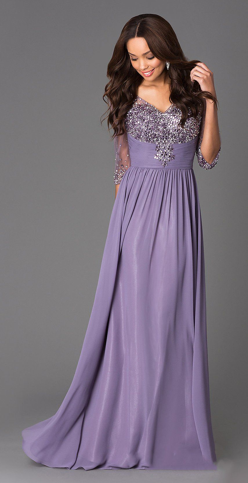 V neck studded bodice long a line dusty lilac formal gown
