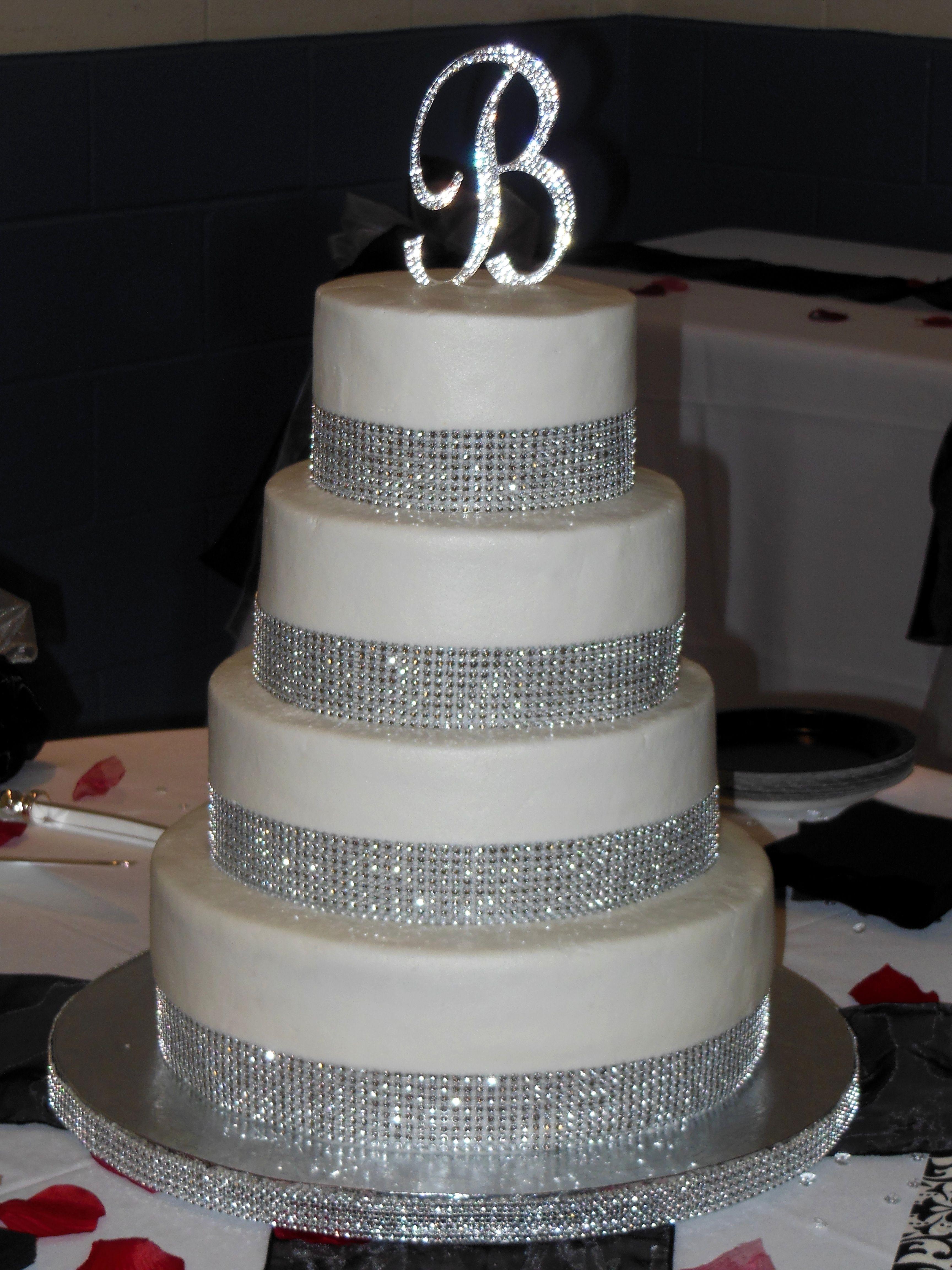 Rhinestone Banded Wedding Cake NutMeg Confections