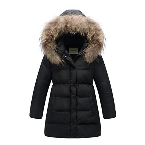 9edf8c650182 Kids Big Girls  Quilted Down Puffer Jacket Parka Fur Hood ...