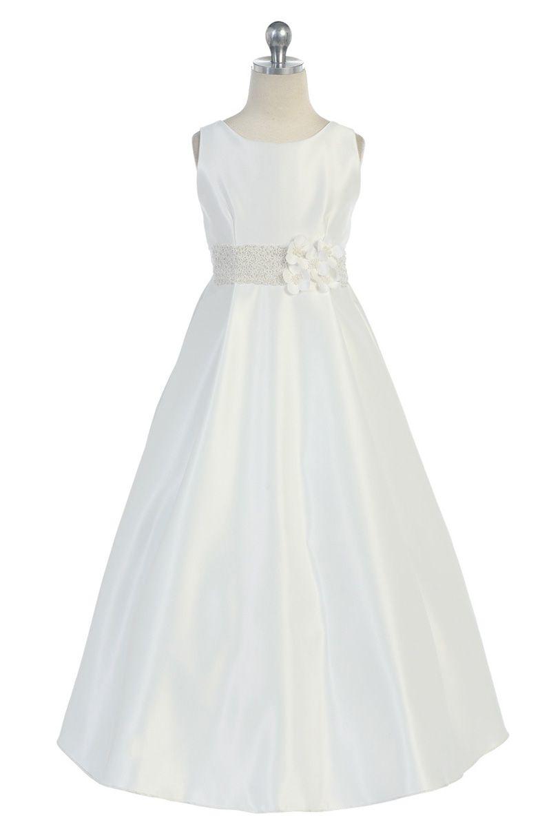 50th wedding anniversary dresses  Ivory Satin Sleeveless Aline Long Flower Girl Dress CDIV CD