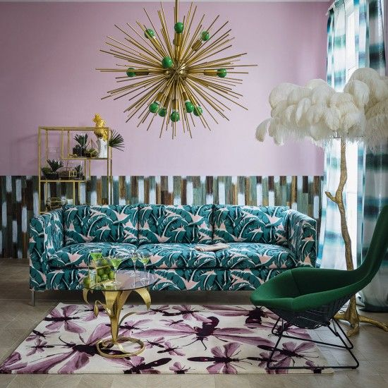 Contemporary Living Room With Pink Wall And Tropical Print Sofa Ideal Home Printed Sofa Pink Living Room Pink Room