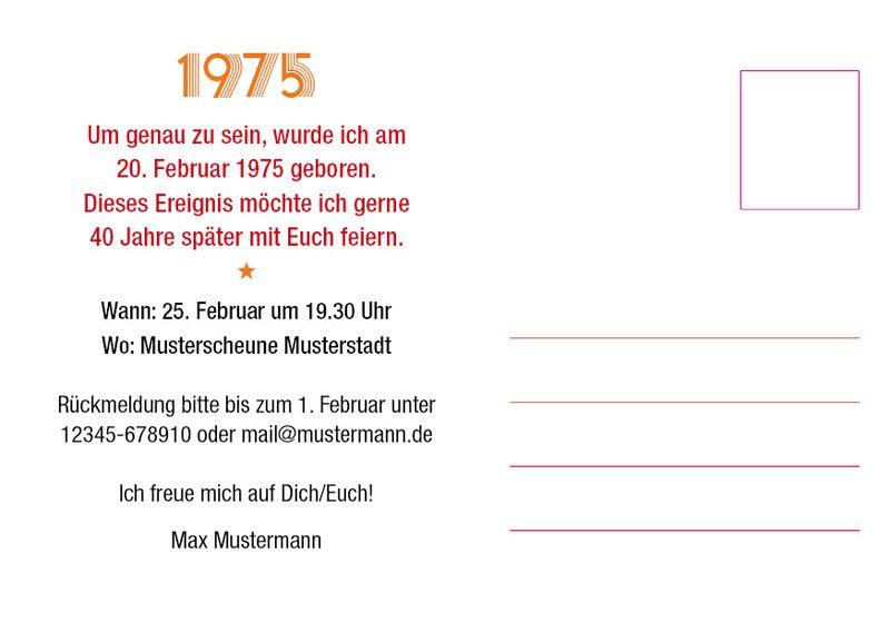 Einladung Zum 40 Geburtstag Postkarte Im Din A6 Format