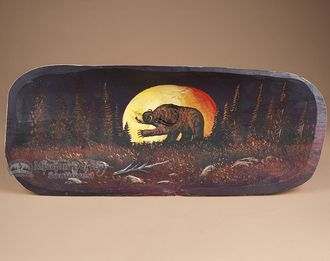 """Hand Painted Carved Wooden Bowl 24"""""""" -Moonlit Bear (pb22)"""