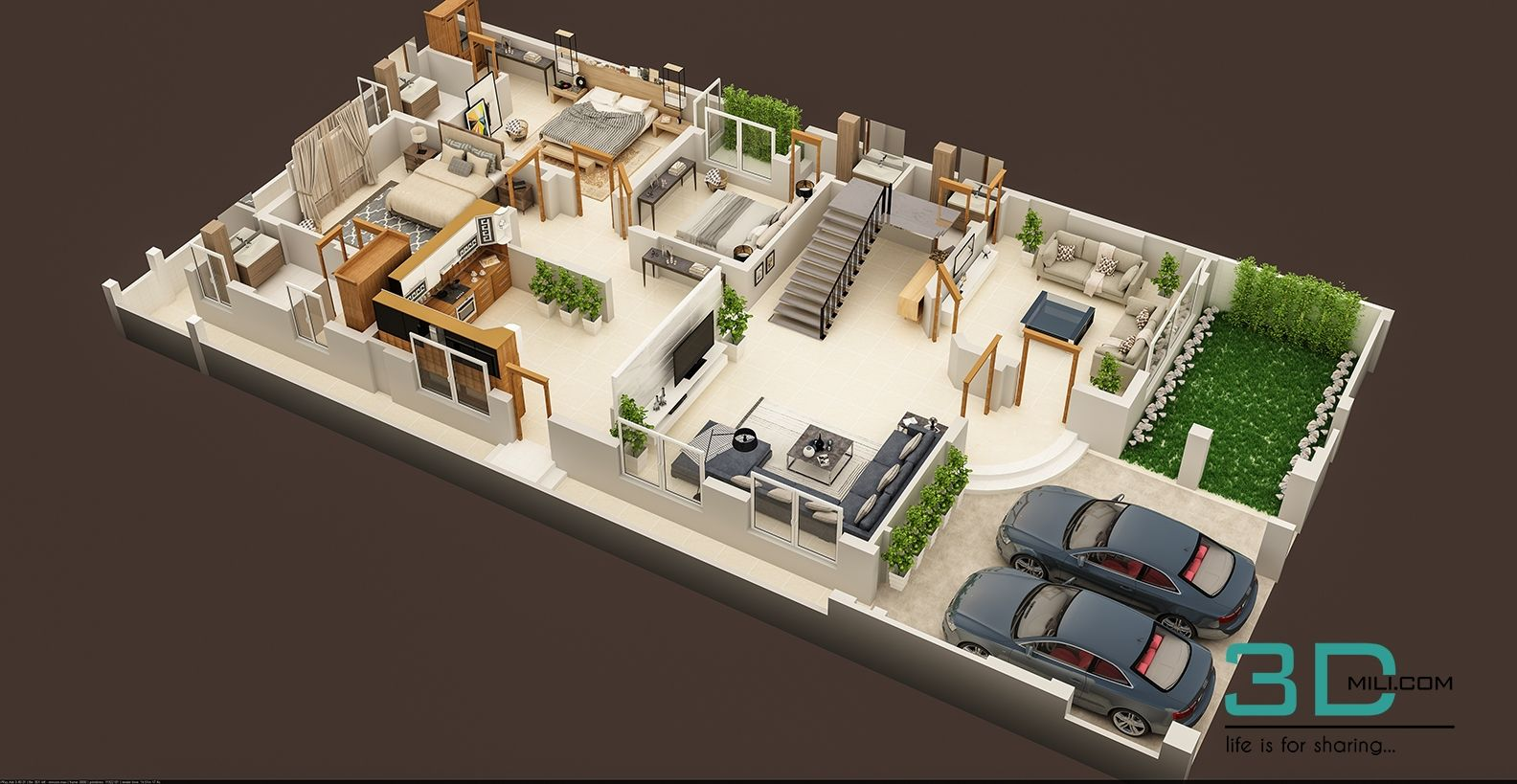 3d Floor Plan Of Residential House Ground Floor Plan Home Design Floor Plans Ground Floor Plan Floor Plan Design
