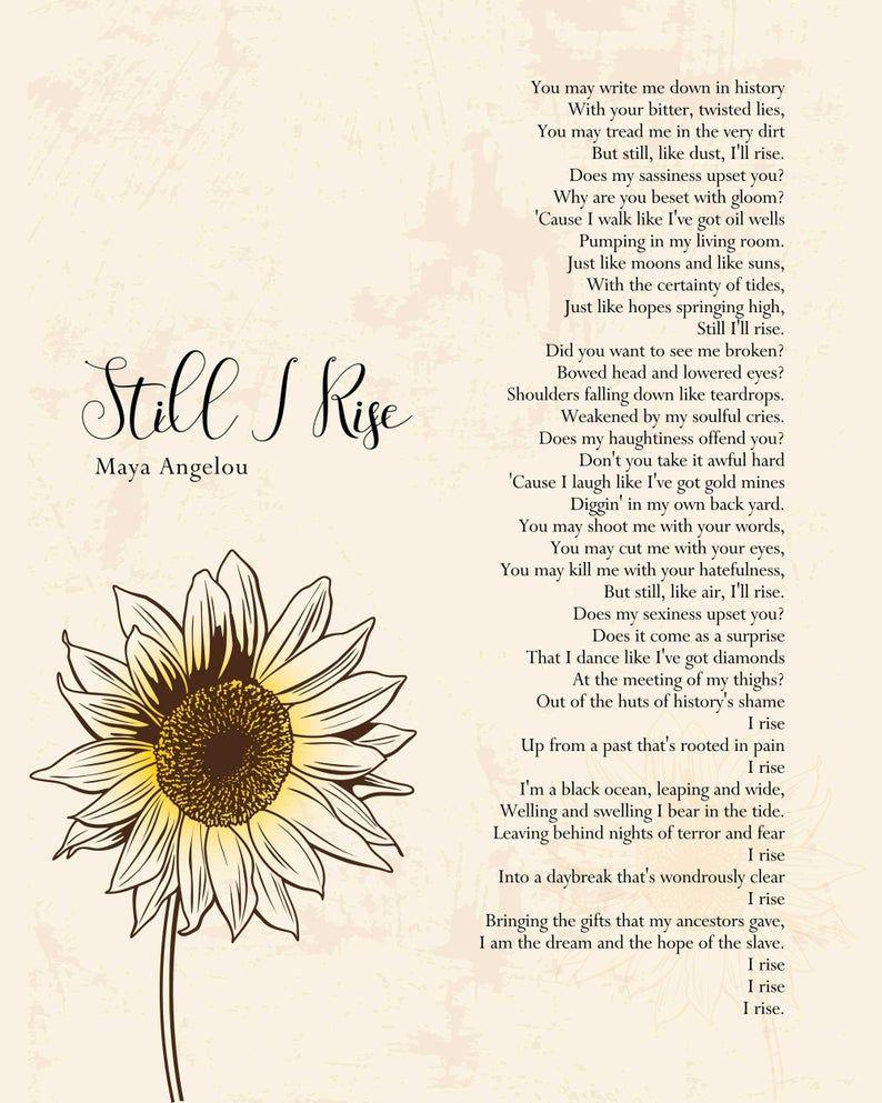 I Rise Maya Angelou Still I Rise Poem Wall Art Self Respect   Etsy