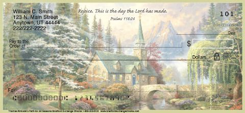 Spread joy and hope wherever you go with these inspirational Thomas Kinkade personal checks