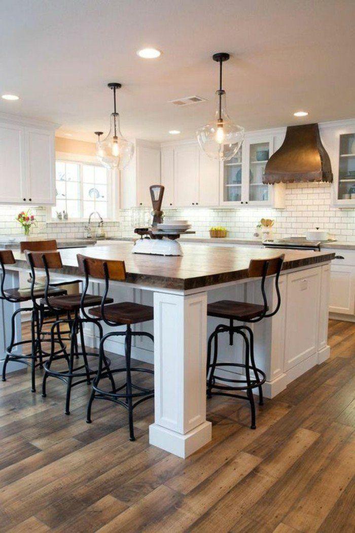 La cuisine équipée avec îlot central - 66 idées en photos - Archzine - Plan De Cuisine Moderne Avec Ilot Central