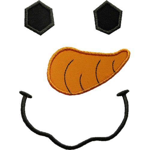 Snowman Face Applique by HappyApplique EMBROIDERY - snowman template