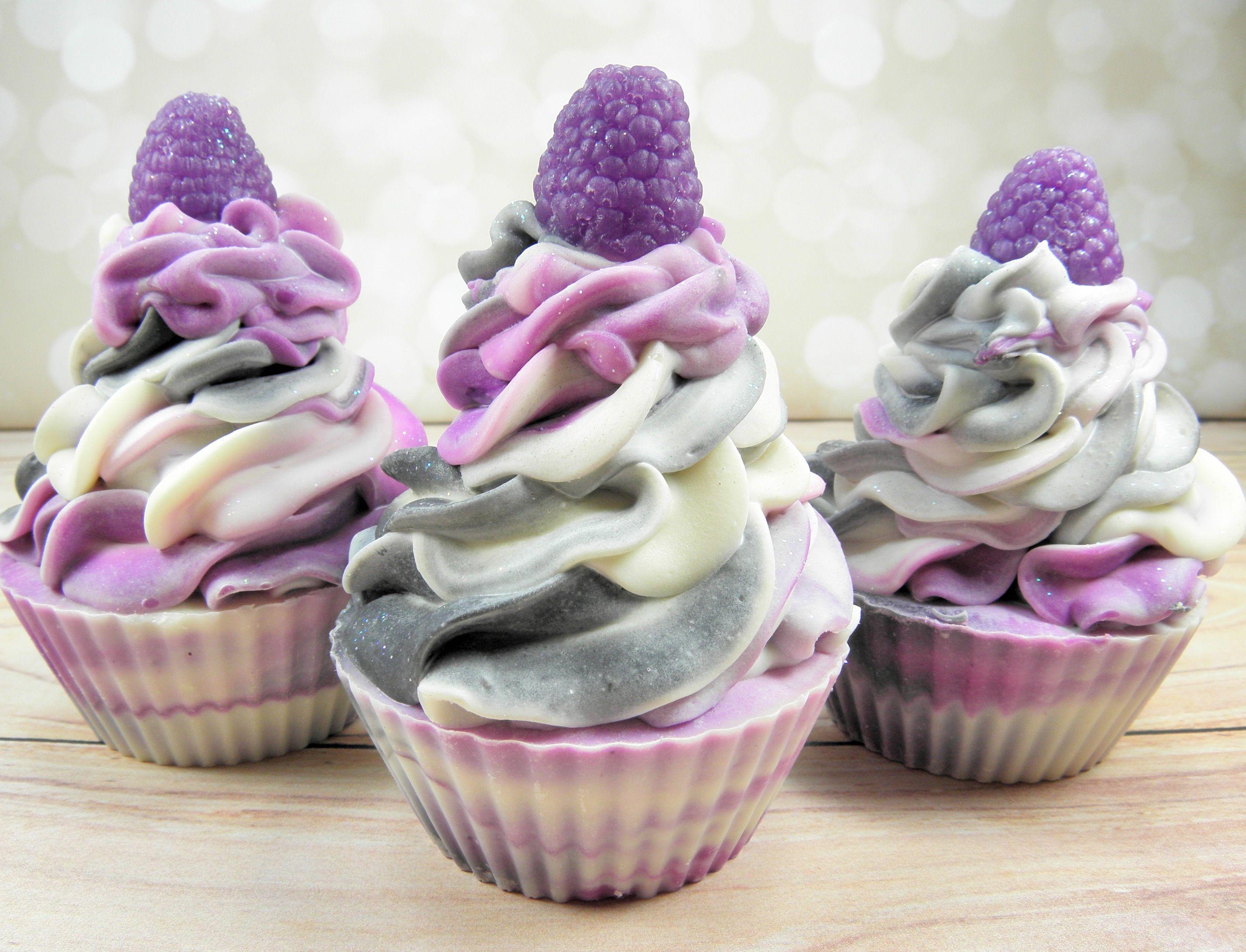 Black Raspberry Vanilla goat milk soap/cupcake soap/handmade