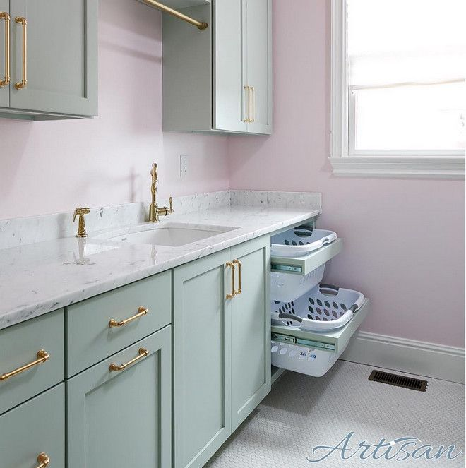 Laundry room. Pale pink walls, turquoise cabinets and brass hardware ...