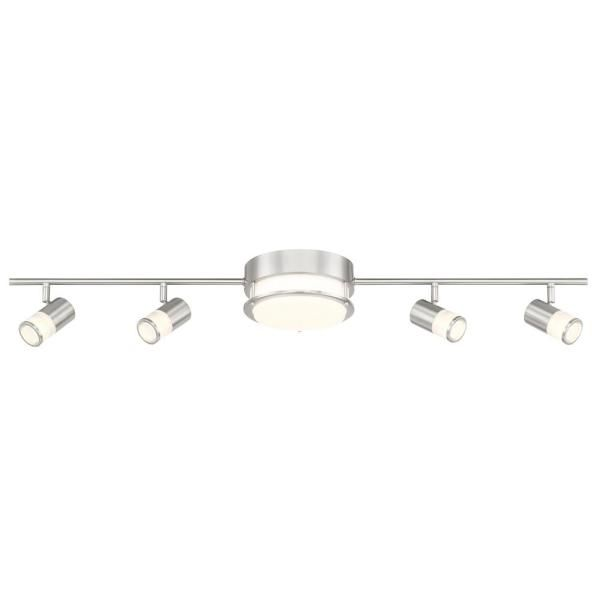 3 44 Ft Brushed Nickel Integrated Led Track Lighting Kit With Flush Mount Ceiling Light And 4 Rot In 2020 Led Track Lighting Track Lighting Flush Mount Ceiling Lights