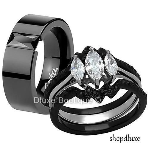 His Hers 4 Piece Black Stainless Steel Wedding Engagement Ring Band Set