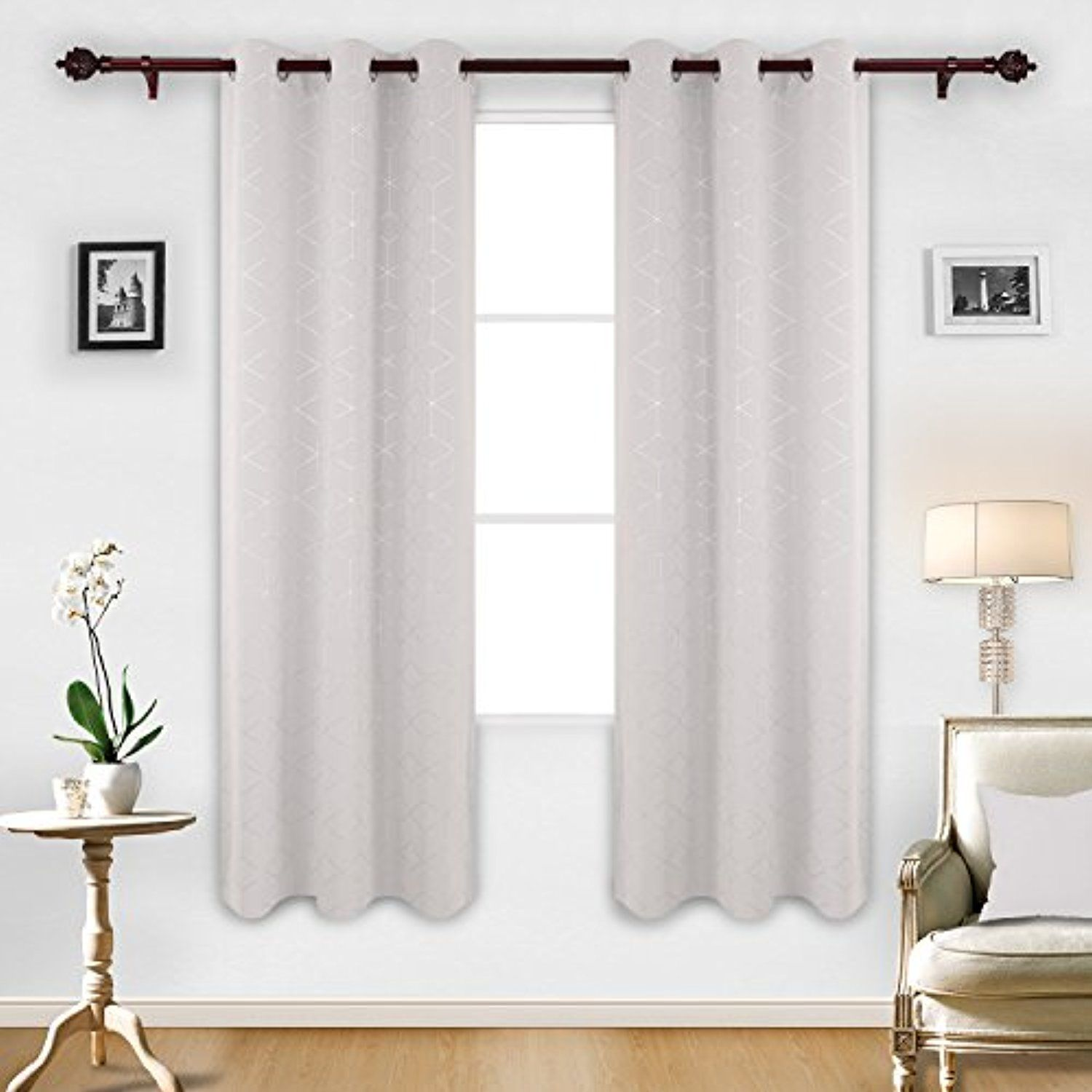 Deconovo Sliver Diamond Foil Print Grommet Room Darkening Thermal Insulated Curtains Blackout Window Panels For Bedroom Width 42 Inch By Length 84