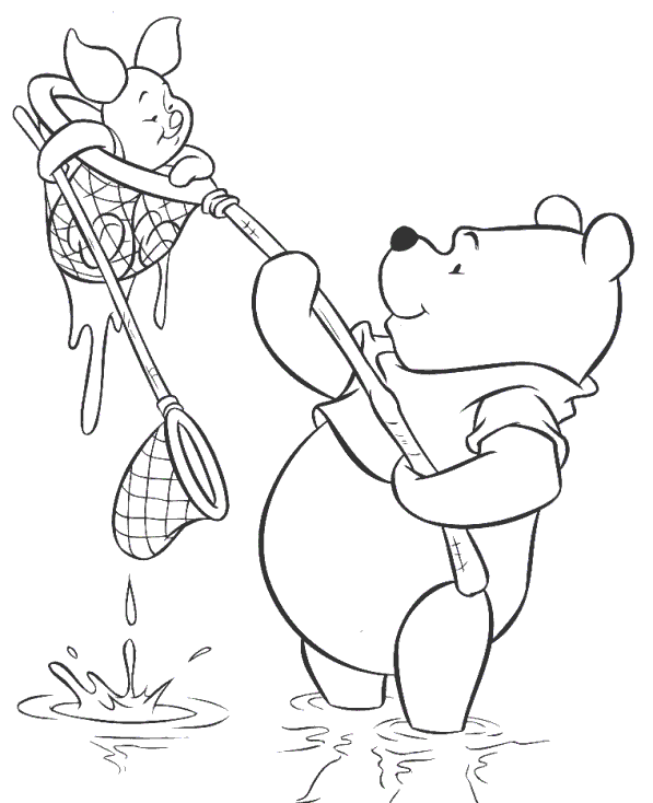Pooh Caza Piglet Winnie The Pooh Drawing Winnie The Pooh Coloring Pages