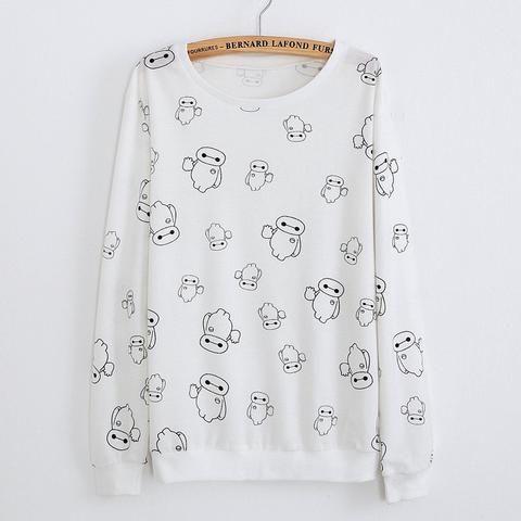 Big Hero 6 White Pattern Sweatshirt