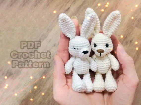 Amigurumi bunny pattern, crochet small animal, mini bunny