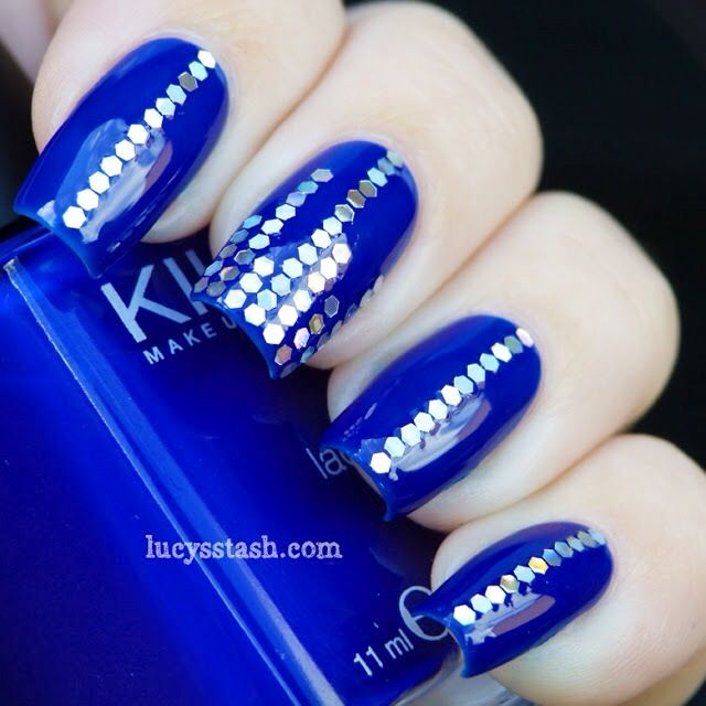 Cool Blue nail polish art design..
