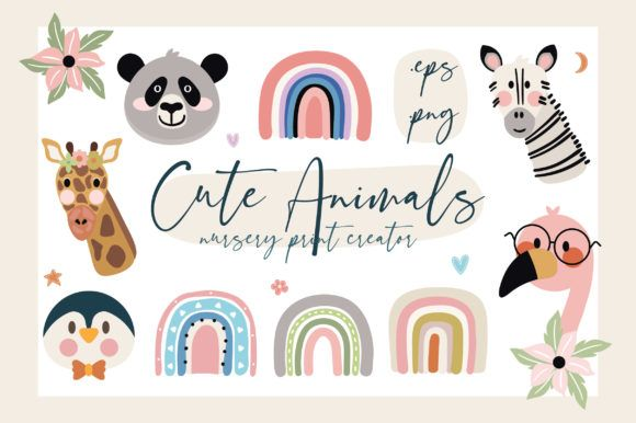 Hi there! Cute Animals Nursery Print Creator is a pack with 32 cutest animals with accessories, elements, lettering quotes and...
