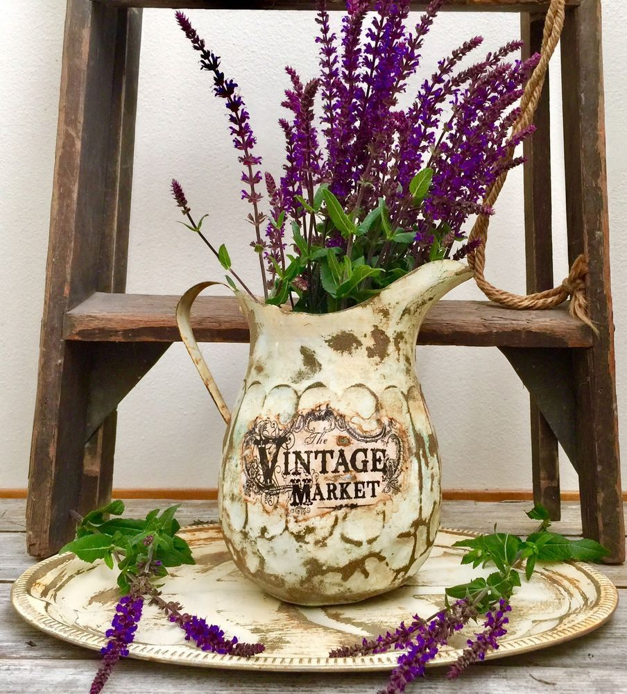 Shabby Chic Vintage Market Antique Water Pitcher And Tray Home Decor ...