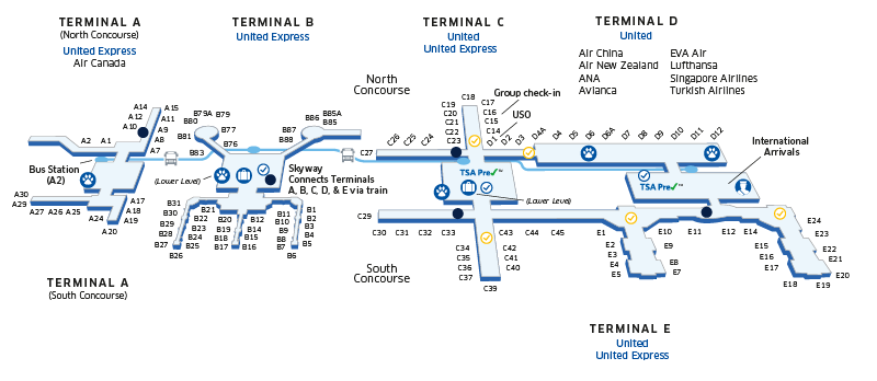 Map Of Houston Airport Houston George Bush Intercontinental (IAH) Airport Map | Things I