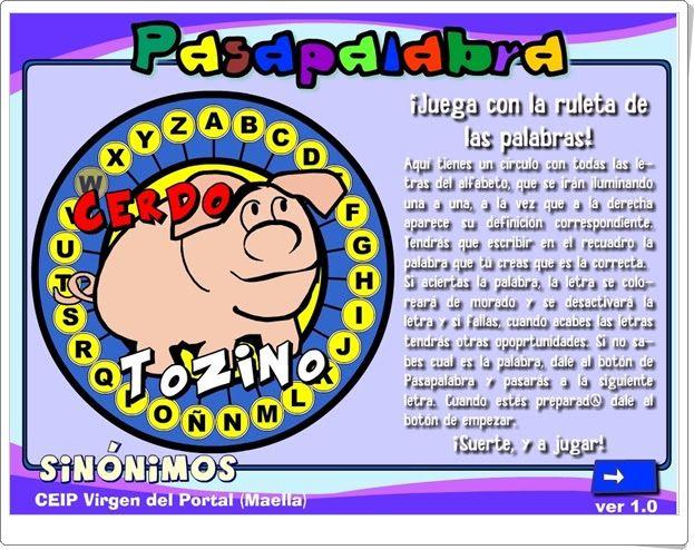 Pasapalabra De Sinónimos Ceip Virgen Del Portal Maella Zaragoza Pasapalabra Sinonimos Sinónimos Y Antónimos