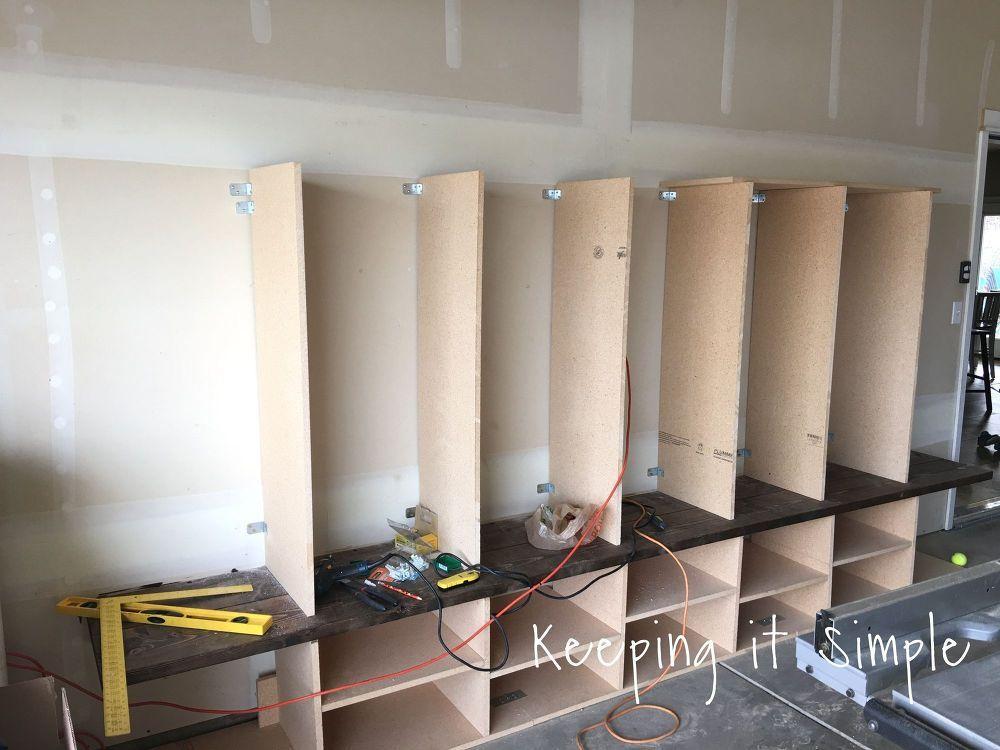 Diy Garage Mudroom Lockers With Lots Of Storage Garageorganization Garage Decor Mudroom Lockers Garage Lockers