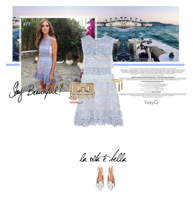 """Set # 477 / Chiara Ferragni wearing self-portrait's Lace Peplum Mini Dress for her last night in Mykonos"" by vassiliki-g ❤ liked on Polyvore"