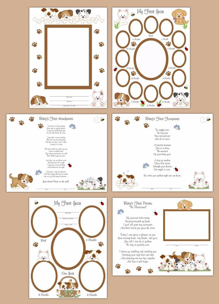 Puppy Dog Premade Scrapbook Layout Pages Baby Boy Shower Gift Wall Art Prints…